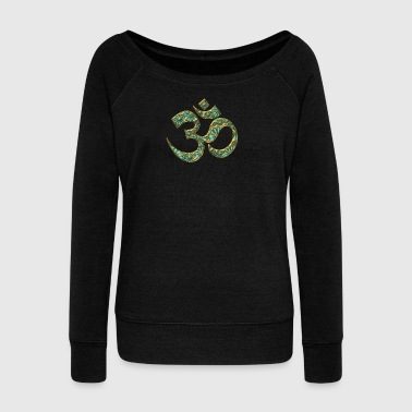 OM (AUM - I AM) - Sacred Symbol, turquoise, manifestation of spiritual strength, The energy symbol gives balance, peace and bliss - Women's Boat Neck Long Sleeve Top
