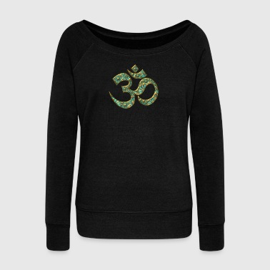 Sacred OM (AUM - I AM), turquoise, manifestation of spiritual strength, The energy symbol gives balance, peace and bliss - Bluza damska Bella z dekoltem w łódkę