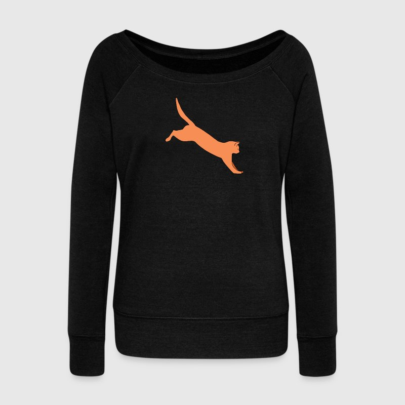 Jumping Ginger Cat - Women's Boat Neck Long Sleeve Top