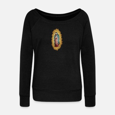 Madonna Madonna holy church god believe pray mosaic - Women's Boat Neck Long Sleeve Top