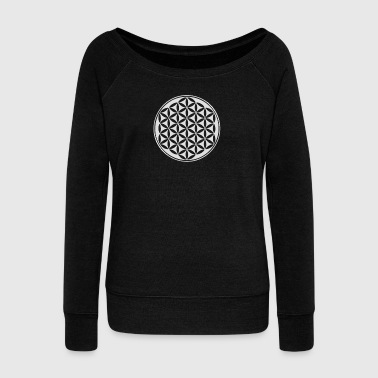 Kwiat życia - Flower of life - silver - sacred geometry - power of balancing and energizing, energy symbol - Bluza damska Bella z dekoltem w łódkę