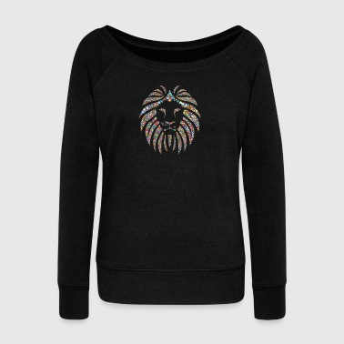 Colorful lion - Women's Boat Neck Long Sleeve Top