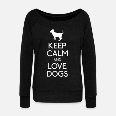 Keep Calm Keep Calm and love Dogs - Pull Femme col bateau de Bella