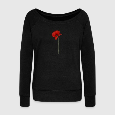 Poppy Cool Realistic Poppy Flower Gifts for Veterans - Women's Boat Neck Long Sleeve Top
