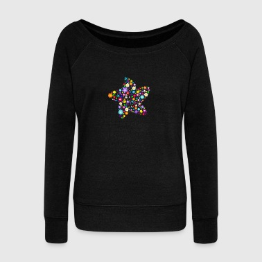 Rainbow Floral Star Bottles & Mugs - Women's Boat Neck Long Sleeve Top