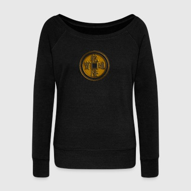 Lucky Chinese coin, Feng Shui, wealth, finance - Women's Boat Neck Long Sleeve Top