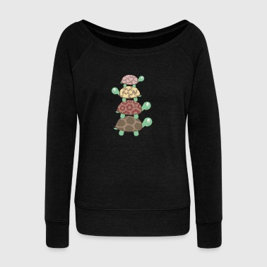 Turtle family - Women's Boat Neck Long Sleeve Top