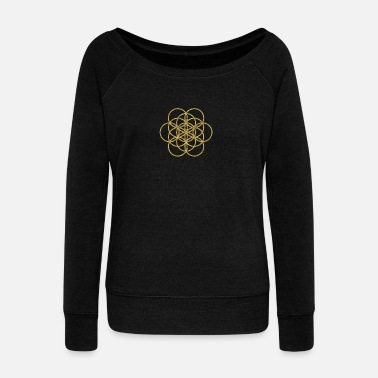 Kabbalah Feel the Harmony! EGG OF LIFE, digital, gold, sacred geometry, energy, symbol, powerful, icon, - Women's Boat Neck Long Sleeve Top