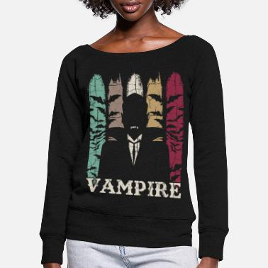 Vampire Retro vampires - Women's Wide-Neck Sweatshirt