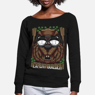 Trendy Trendy beaver - Women's Wide-Neck Sweatshirt