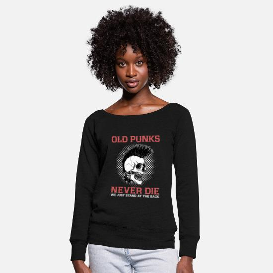 Punk Long Sleeve Shirts - Old Punks Never Die Punk Rock Party Skull Gift - Women's Wide-Neck Sweatshirt black
