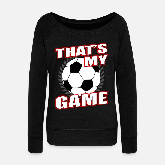 Gift Idea Long Sleeve Shirts - Football Soccer Sports Game - Women's Wide-Neck Sweatshirt black