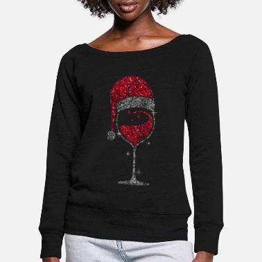 Wine Wine Glass Christmas Wineglass Wine Christmas - Women's Wide-Neck Sweatshirt