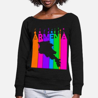 National Armenia Colored bubbles and bubbles - Women's Wide-Neck Sweatshirt