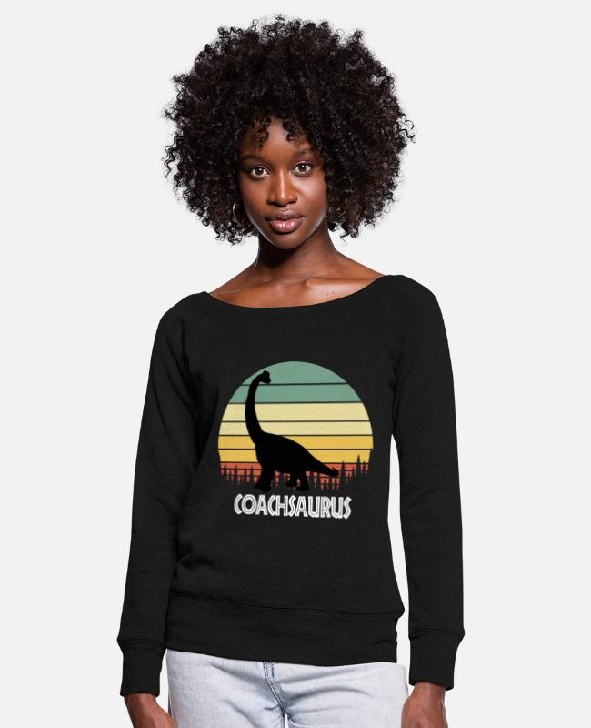Rugby Long-Sleeved Shirts - COACHSAURUS COACH SAURUS COACH DINOSAUR - Women's Wide-Neck Sweatshirt black