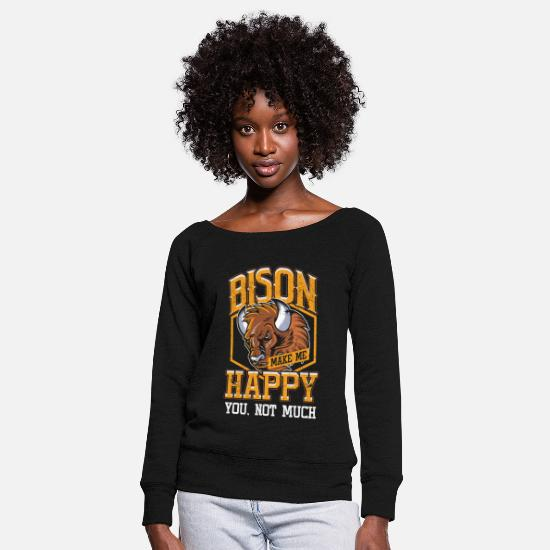 Buffalo Long Sleeve Shirts - Wildlife Animals Herds Hunting Hunters Awesome - Women's Wide-Neck Sweatshirt black