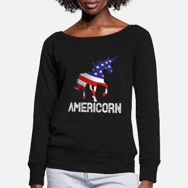 America Unicorn America - Women's Wide-Neck Sweatshirt