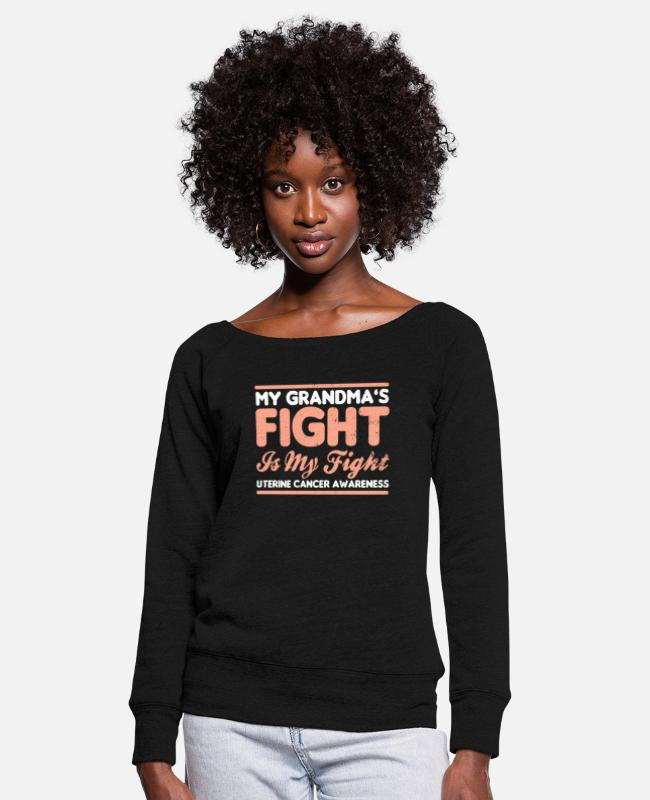 Cancer Survivor Long-Sleeved Shirts - Uterine Cancer My Grandmas Fight is My Gift - Women's Wide-Neck Sweatshirt black