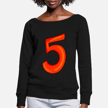 Number Number 5 red number five - Women's Wide-Neck Sweatshirt