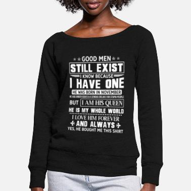 Girlfriend Valentine's Day Men Born November - Women's Wide-Neck Sweatshirt