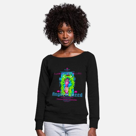 Weed Long Sleeve Shirts - Regent Gitters Canabis Family ... Angel of Weed - Women's Wide-Neck Sweatshirt black