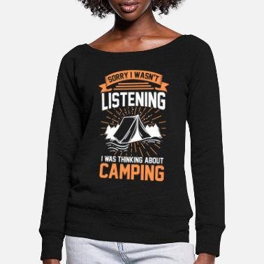 Travel Thoughts Camping tent - Women's Wide-Neck Sweatshirt