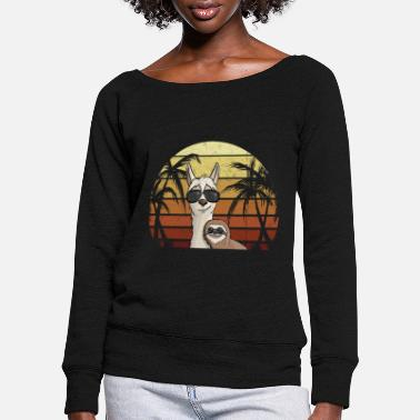 Funky 80's retro style sloth on hipster llama - Women's Wide-Neck Sweatshirt