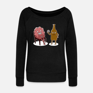 Glass Stop thinking about catching a drink - Women's Wide-Neck Sweatshirt