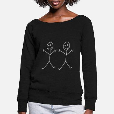 Stick Figure Two stick figures - Women's Wide-Neck Sweatshirt