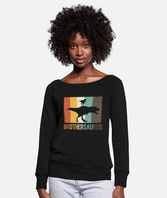 Brothersaurus Long-Sleeved Shirts - Brothersaurus for boys big brother - Women's Wide-Neck Sweatshirt black