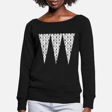 Checkered Flag Triangles Checkered Abstract Gift Gift Idea - Women's Wide-Neck Sweatshirt