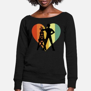 Driller Vintage Driller Heart - Women's Wide-Neck Sweatshirt