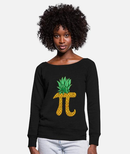 Birthday Long sleeve shirts - Pi Pineapple Pineapple Math Math Math Teacher - Women's Wide-Neck Sweatshirt black