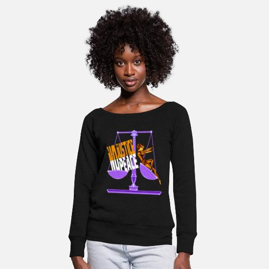 Yellow Long Sleeve Shirts - Justice - Women's Wide-Neck Sweatshirt black