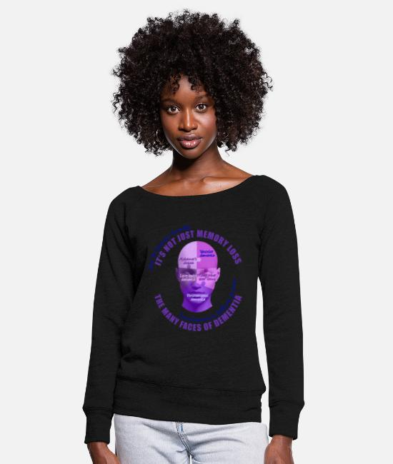Vascular Dementia Long-Sleeved Shirts - The Many Faces of Dementia - Women's Wide-Neck Sweatshirt black