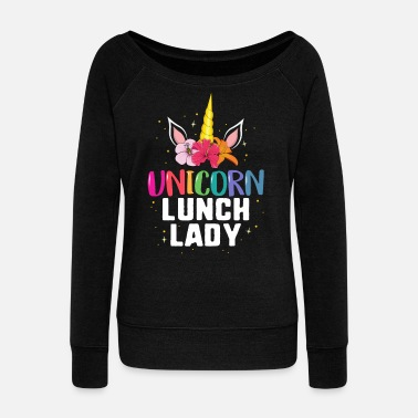 Lunch Unicorn Lunch Lady TShirt School Cafeteria Floral - Women's Wide-Neck Sweatshirt