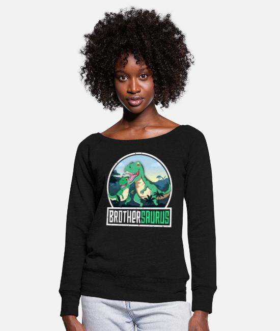 Primeval Times Long-Sleeved Shirts - Brothersaurus TRex Dinosaur Saurus Brother - Women's Wide-Neck Sweatshirt black