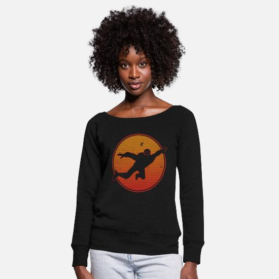Skydiving Long sleeve shirts - Skydiving skydiving - Women's Wide-Neck Sweatshirt black