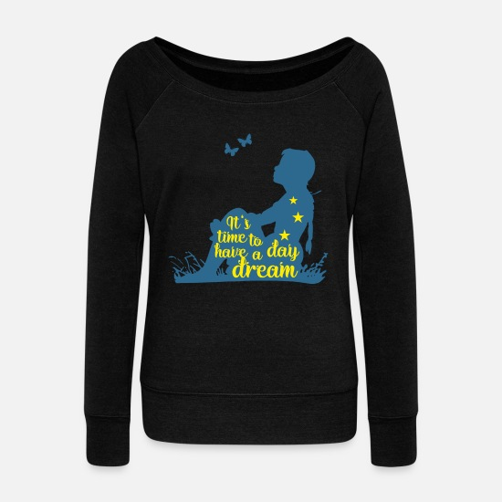 Wife Long sleeve shirts - Silhouette Of A Girl - Time To Have A Day Dream 3 - Women's Wide-Neck Sweatshirt black