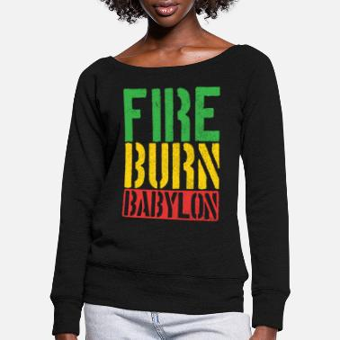 Reggae music Rastafarian Jamaica gift - Women's Wide-Neck Sweatshirt