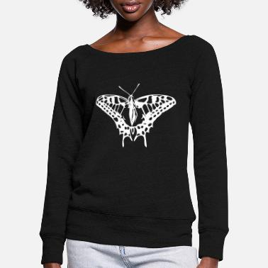 Great butterfly in strong colors - Women's Wide-Neck Sweatshirt
