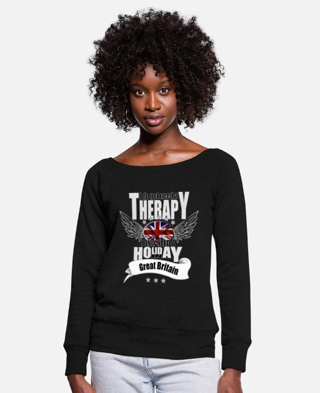 Therapy Long-Sleeved Shirts - no therapy England - Women's Wide-Neck Sweatshirt black