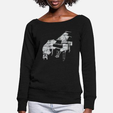 Piano Piano bear music piano - Women's Wide-Neck Sweatshirt
