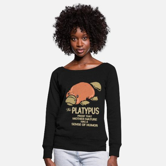 Toxic Long Sleeve Shirts - platypus - Women's Wide-Neck Sweatshirt black