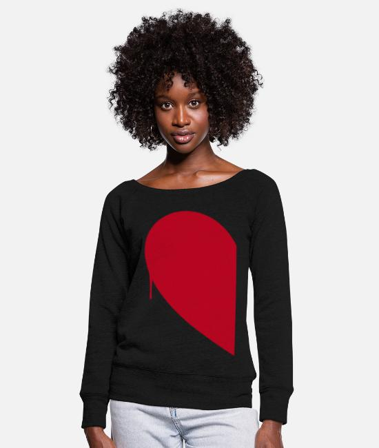 Half Long-Sleeved Shirts - Half Heart Woman - Women's Wide-Neck Sweatshirt black