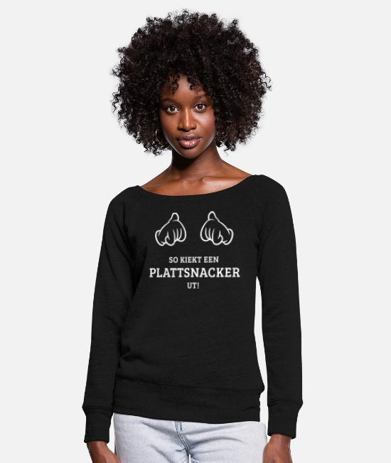 East Frisia Long-Sleeved Shirts - So Kiekt Een Plattsnacker Ut! (Low German / 1C) - Women's Wide-Neck Sweatshirt black