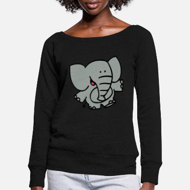 Little Elephant by Cheerful Madness!! - Women's Wide-Neck Sweatshirt
