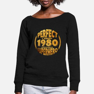 Year Of Birth 1980 year of birth - Women's Wide-Neck Sweatshirt
