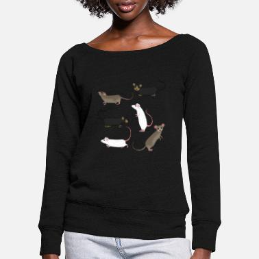 Rat six mice - Women's Wide-Neck Sweatshirt