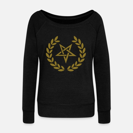 Devil Long Sleeve Shirts - pentagram deluxe - Women's Wide-Neck Sweatshirt black